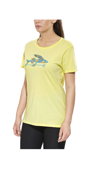 Patagonia Isle Wild Flying Fish Cotton Crew T-Shirt Women Lite Blazing Yellow